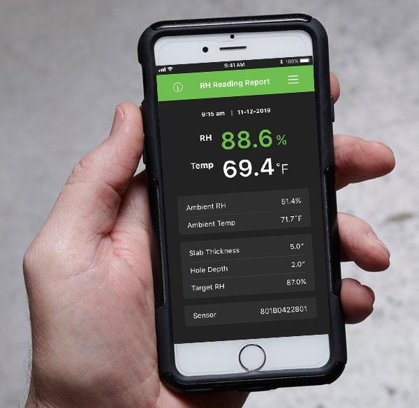 DataMaster L6 app RH Reading Report Screen