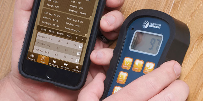 The Orion 950 moisture meter has Bluetooth capability built in to use with Wagner's mobile apps
