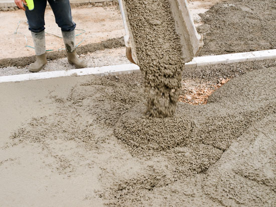 pouring new concrete