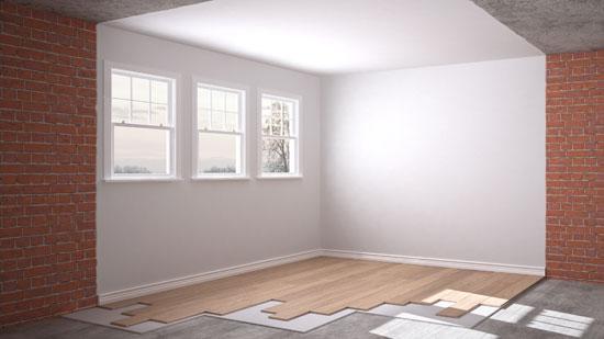padded underlayment under wood floor