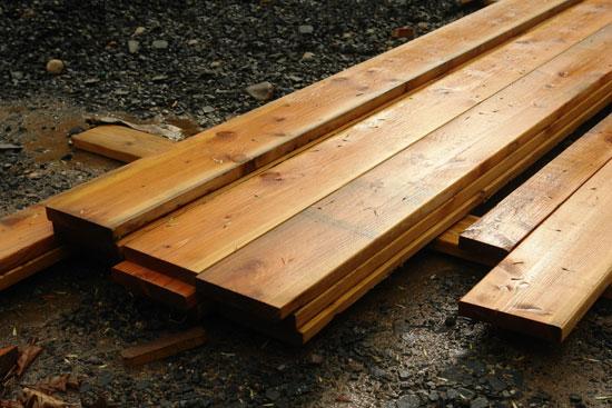 Wet stack of lumber